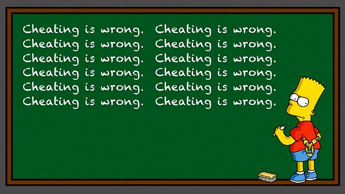 cheating is wrong bart simpson t kio shop