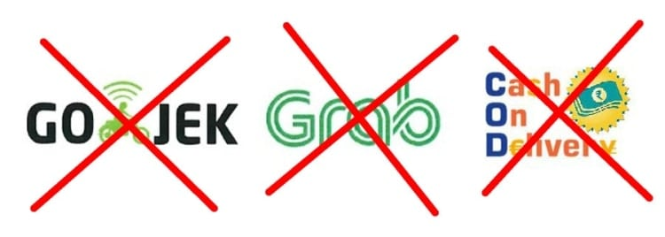 NO Gojek, NO Grab, NO CoD